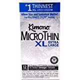 Kimono Microthin XL Condoms with Silver Sleek Pocket Case, Extra Large Lubricated Latex Condoms-12 Count