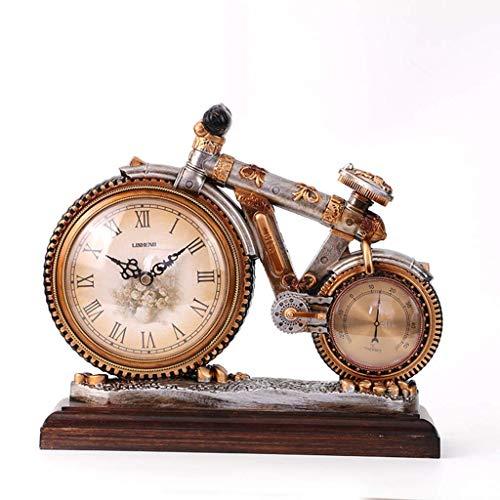 Retro Fahrraduhr, Thermometer Home Decoration Uhr, Desktop-Uhr, Uhrwerk, Desktop-Wecker für Ihre Eltern, Freunde, Kinder kostbarsten Geschenke, B.