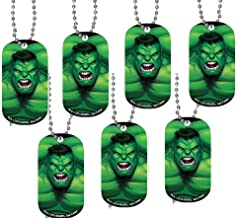 Stainless Steel Marvel Comics Dog Tag Necklace - HULK ( Set of one ~ complete with Ball chain measuring 21 inches long).