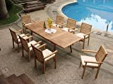 TeakStation 8 Seater Grade-A Teak Wood 9pc Dining Set: 94' Rectangle Table and 8 Hari Stacking Arm Chairs #TSDSHR7