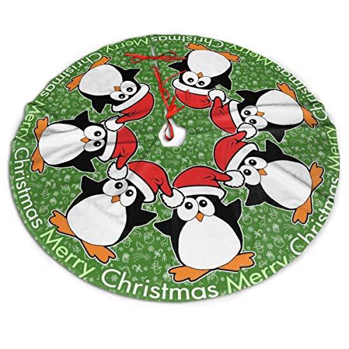 ASO-SLING Soft Christmas Tree Skirt Mat Christmas Penguins Merry Christmas Printed Xmas Tree Mat Xmas Ornaments Xmas Holiday Decorations 30/36/48 Inch Diameter