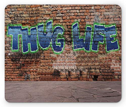 Gaming Mauspad Drucken Sie Stilwörter Auf Einem Brick Wall Street Urban Art Hip Hop Rap Culture Theme Rutschfestem Gummiunterseite Mousepad Anti-Ausfransen Stabiler Gaming Mausmatte 25X30Cm