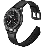 Gear S3 Frontier Armband Leder Schwarz,Armband Samsung Galaxy Watch 46mm Leder Armband Samsung Gear S3 Ersatzarmband Uhren Samsung S3 Classic Sportband für Samsung Gear S3/Galaxy Watch 46mm