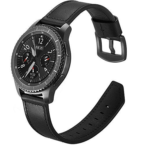 Bracelet Samsung Gear S3 Frontier Cuir,Bracelet Montre Samsung Galaxy Watch 46mm Bracelet Gear S3 Classic Sport Bande avec Acier Inoxydable Fermoir pour Samsung Gear S3 Frontier/Galaxy Watch 46mm