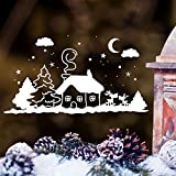 """Wandtattoo Loft Fensterbild """"Winter Häuschen mit niedlichen Hirschen"""" - Fensteraufkleber zur weihnachtlichen Dekoration in der Adventszeit Wandtattoo / 49 Farben / 3 Größen / weiß / 20 cm hoch x 37 cm breit"""