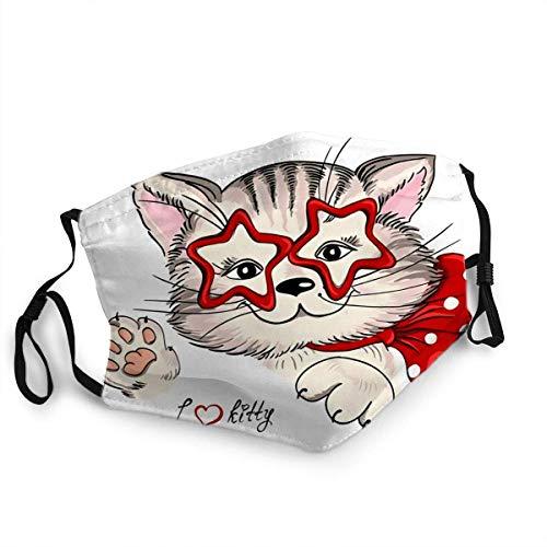 Pañuelos para la cara con diseño de gato hipster en gafas con forma de estrellas, bufanda facial para hombres y mujeres, bufanda para la boca lavable, antipolvo, decoración facial, unisex reutilizable