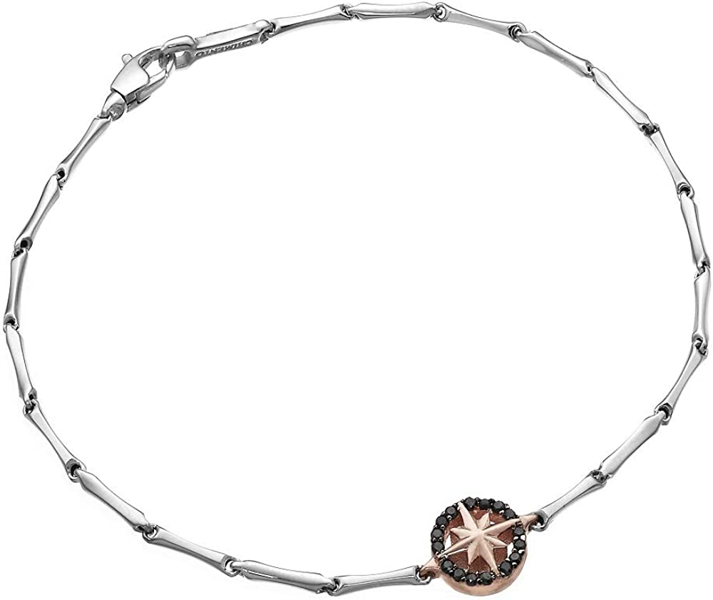 chimento,bracciale per uomo oro 18 kt (2,8 gr),con centrale a forma di rosa dei venti in oro rosa e diamante 1b05398bn7200