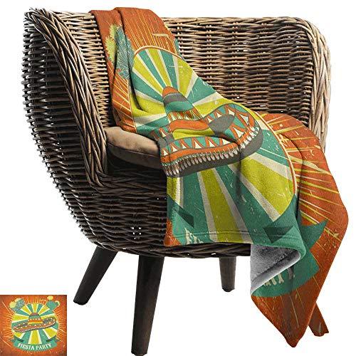 ZSUO Sofa deken Fiesta, Kleurrijke Latino Elements Sombrero Maracas Gitaar Geometrische Achtergrond Groene Mosterd Vermilion Gezellige en Duurzame Fabric-Machine Wasbaar
