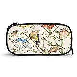 Robins - Estuche para bolígrafos de alta capacidad, estilo vintage, diseño retro, diseño de pájaros, mariposas, flores de primavera, duradero, bolsa de papelería con cremallera