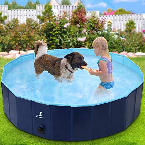 Wimypet Piscina Mascotas, Piscina para Perros, Bañera Plegable de Mascotas Adecuado para Interior, Piscina con PVC Antideslizante para Perros/Gatos/Niños- Azul Claro (160 * 30CM)