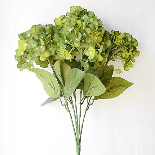 ZTTLOL Künstliche Blumen Hortensien Bouquet Für Hochzeit Dekoration 5 Köpfe Seide Blume Brautstrauß, Grün