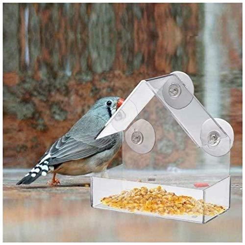 Claro Caliente Ventana de la casa del alimentador del pájaro Birdhouse con succión jardín al Aire Libre Alimentación Comederos de Aves ¿Puede Hacer Que su Mascota a Comer Mejor (Color: Blanco) LMMS