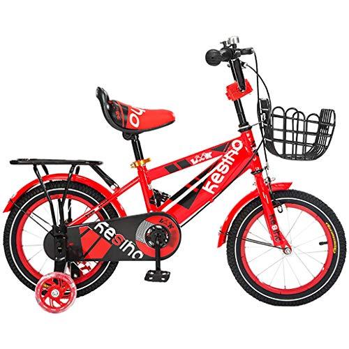 GAIQIN Langlebig Kinderfahrrad für Jungen und Mädchen 4-10 Jahre alt, Hände gebremst, betriebssicher (mit Korb und Rücksitz) (Farbe : Rot, größe : 16inch)