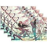 Tovagliette colorate Art Dancer donna per tovagliette per tavolo da cucina Set di 6 tappetini resistenti al calore in poliestere da tavolo,45X30 cm