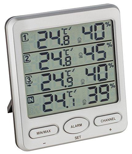 TFA Dostmann Funk-Thermo-Hygrometer Klima-Monitor TFA 30.3054 Raumklimakontrolle (Silber)
