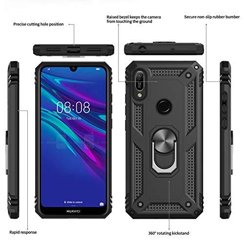 LeYi für Huawei Y6 2019/Y6s (2019) Hülle Honor 8A Handyhülle mit Panzerglas Schutzfolie(2 Stück), 360 Grad Magnetische Ringhalter Cover TPU Schutzhülle für Case Huawei Y6 2019 Handy Hüllen Schwarz