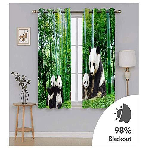 YUNSW Tiermuster 3D Digitaldruck Polyester Faservorhänge, Wohnzimmer Küche Schlafzimmer Verdunkelungsvorhänge, Perforierte Vorhänge 2-teiliges Set