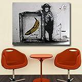 Pintura de lona para chimeneas y plátanos, para sala de estar, decoración del hogar, pintura al óleo sobre lienzo, pintura de pared para sala de estar, póster de 50 x 75 cm (sin marco)