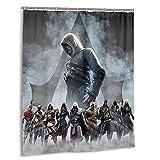 Assassin'S Creed Cortina de Ducha para baño, exquisitas Cortinas Impermeables de 152cm x 183cm con 12 Ganchos