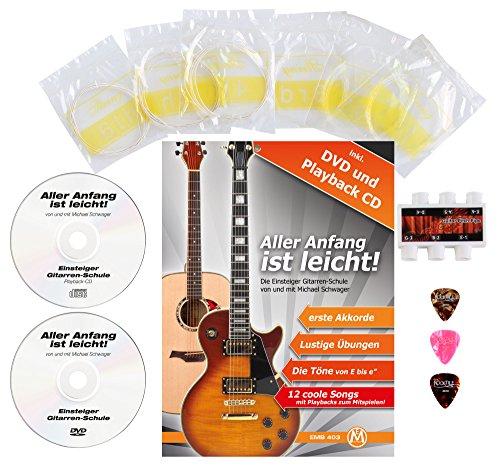 Classic Cantabile AS-851 4/4 Konzertgitarre Starter Set (Komplettes Anfänger Set mit Klassik Gitarre, Gigbag Tasche, Nylonsaiten, Lehrbuch/Schule inkl CD und DVD, 3x Plektren und Stimmpfeife) - 4