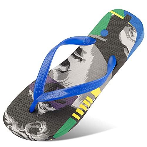 Infradito Flip-Flop-Flip-Flops da Uomo Sandali per periferici da Esterno, Stampa Antiscivolo Soft Slip on Walk da Viaggio Scarpe da Viaggio Scarpe Regali, Dimensioni (40-46), Cinturino Blu, 44