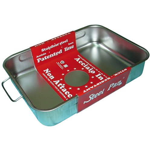 steel pan SP11163 Plat RECTANGULAIRE INOX, Acier Inoxydable, Argent, 40 x 28 x 8 cm