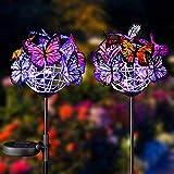 2 x Solar-Gartenlichter, Schmetterlinge, LED-Licht, Gartendeko, Outdoor-Solarlaterne, Garten-Deko-Lampe