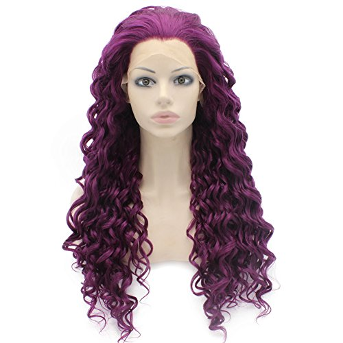 Mxangel Long Curly Heat Risistant Synthetic Hair Purple Celebrity Natural Stylish Half Hand Tied Lace Front Wig