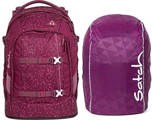 Satch Pack Berry Bash 2er Set Schulrucksack & Regencape lila