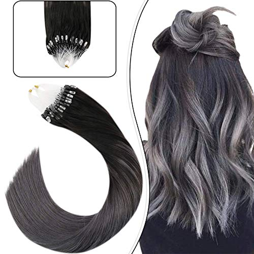 Ugeat Micro Links Hair Extensions 24inch Micro Loop Human Hair Extensions 50Gram Balayage Color Off Black #1B Fading to Color Silver Micro Ring Beads Hair Extensions