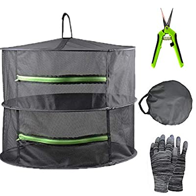 YOUSHENGER 2 Layer 2ft Herb Drying Rack Black Mesh Hanging Weed Drying Rack net 1Pack Solar drying net with green zipper and garden gloves for hydroponic plants