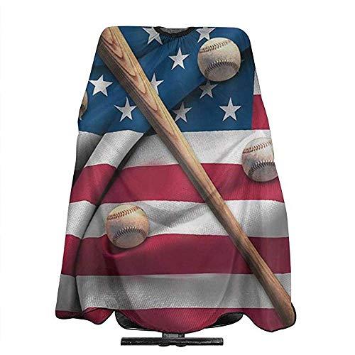 Haarschnitt Cape Baseballschläger Auf American National Flag Professionelle Salon Polyester Haarschneide Schürze Haarschnitt Friseur Cape,140X168 Cm