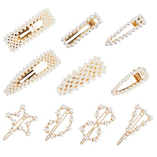 Beinou Pearls Hair Clips for Women Girls 10 Pcs Metal Alligator Clips Pearl Wrapped Hair Barrettes Hairpins Pearl Snap Hair Clips for Wedding Bridal Birthday Valentines Day Gifts