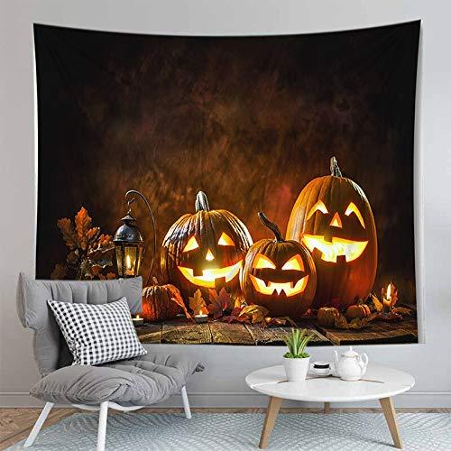 PPOU Alfombra de Calabaza de Halloween 3D Manta Tapiz montado en la Pared Estera de Yoga Bohemia Decoración de la Pared del hogar Tapiz de Tela de Fondo A3 73x95cm