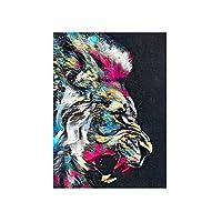WKAQM カラフルな動物のポスタープリント水彩ライオンキャンバス壁アート抽象的な落書きアート壁画モダンなリビングルーム家の壁の装飾写真フレームレス L2K-351