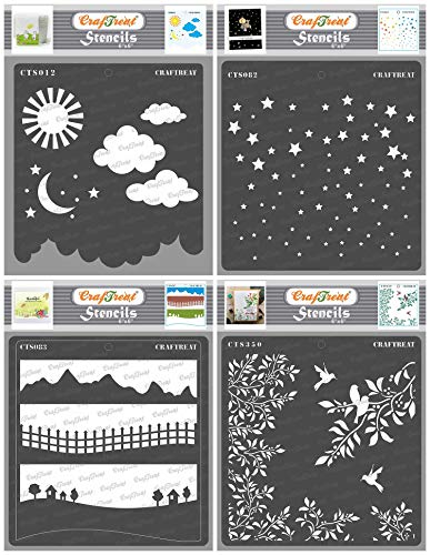 CrafTreat Stencils for Painting on Wood, Canvas, Paper, Fabric, Floor, Wall and Tile - Clouds and Stars, Starry Sky, Landscapes, Leaves and Branch - 4 Pcs - 6x6 Inch - Reusable Art and Craft Stencils