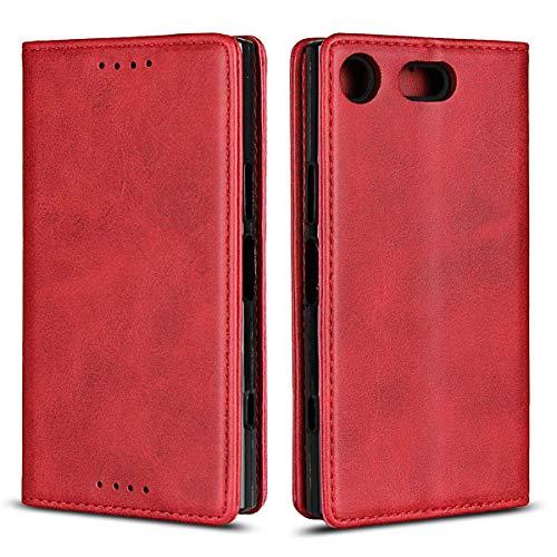 Coque Sony Xperia XZ1 Compact, SONWO Premium PU Cuir Rabat Portefeuille de Protection Coque avec Fonction Support et Fente pour Carte pour Sony Xperia XZ1 Compact, Rouge