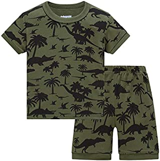Image of Camouflage All Over Dino Print Pajama Shorts Set for Boys - Age 5-8 - See More