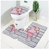 LAOSHIZI Alfombrillas de baño Suave Antideslizante Absorbentes de Agua para Juego de alfombras de baño de 3 Piezas...