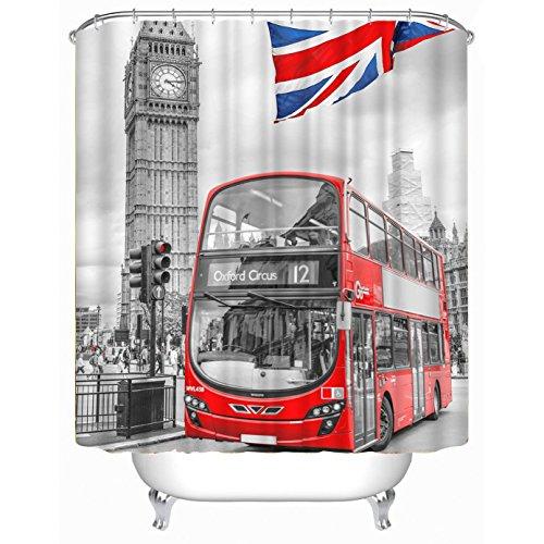 Maple&Home aangepaste London Bus waterdichte douchegordijn, 180 x 180 cm waterdicht badgordijn polyester douchegordijnen met 12 kunststof haken London Bus douchegordijn 71x71inch
