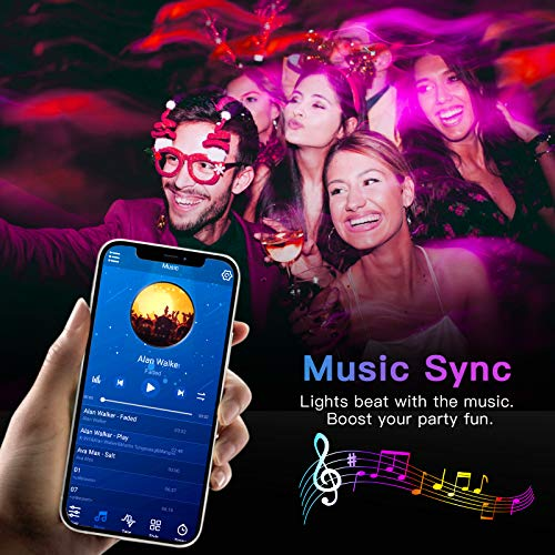 50ft Bluetooth LED Strip Lights, Music Sync 5050 LED Light Strip RGB Color Changing LED Lights Strip with Phone Remote, LED Lights for Bedroom Kitchen TV Party TIKTOK DIY (APP+Remote +Mic) 5