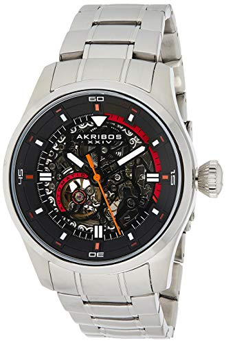 Akribos XXIV Men's Skeleton Automatic Watch - Black Skeletonized Dial with Automatic Movement On Silver Stainless Steel Bracelet - AK970