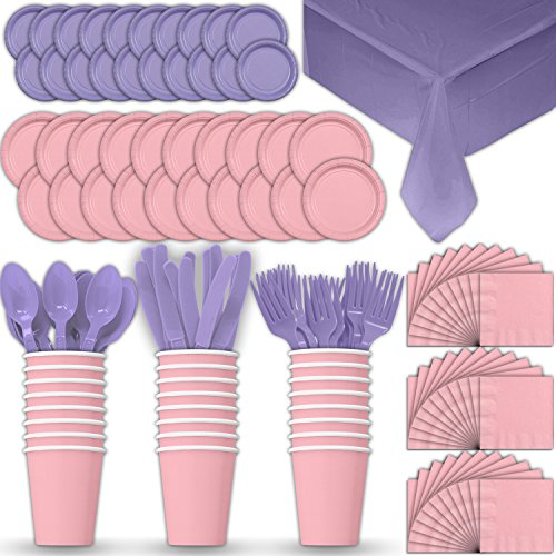 Paper Tableware Set for 24 - Light Pink & Lavender - Dinner and Dessert Plates, Cups, Napkins, Cutlery (Spoons, Forks, Knives), and Tablecloths - Full Two-Tone Party Supplies Pack