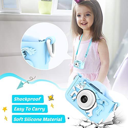 AOKEY Kinder Kamera, Digital Fotokamera Selfie, Geburtstagsgeschenk für Kinder, HD-Farbbildschirm/Autofokus/Videoaufzeichnung/ 32 GB TF-Karte/1080P HD