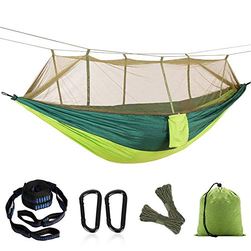 Single and Double Camping Hammock with Mosquito/Bug Net, Hammock Tree Straps, Easy Assembly, Portable Parachute Nylon Hammock, for Camping, Travel Green