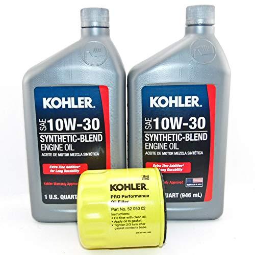 Maintenance 2 PK Kohler Synthetic Blend 10W-30 Engine Oil 1 Quart Bottles with 52 050 02 Oil Filter
