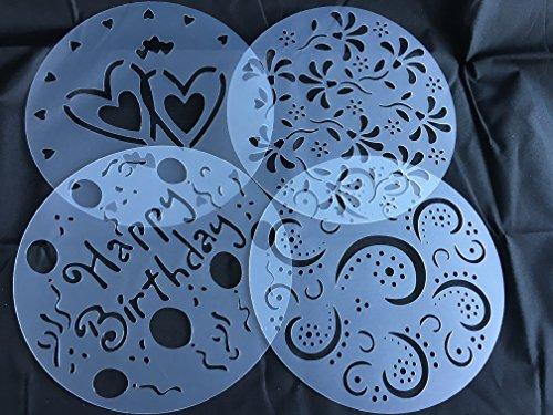 ROYAL HOUSEWARE Torten Schablonen Tatoo Kuchen Dekoration 4er Set Geburtstag Happy Bithday Frühling Blumen Herzen Muster Verzierung