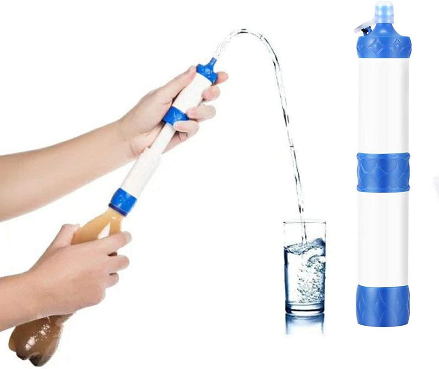 Personal Water Purifier,Removal of Bacterial Predozoa 0.01 Micron Filtration Accuracy for Hiking Camping Trip Emergency Preparation