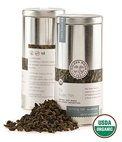 Golden Moon - Organic Oolong Loose Leaf Tea   Naturally Creamy Texture & Deliciously Smooth Taste   Tie Guan Yin Wulong Tea Variety is Good for Weight Loss   40 Servings in 3.3 Oz Tea Tin