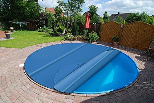 (Profi-Qualität) Runde Poolplanen Schwimmbad Abdeckungen/Poolabdeckung/Sicherheitsabdeckung aus LKW-Plane/PVC-Plane 680g/m² (Muster, Blau)